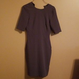 Grey midi dress with open back